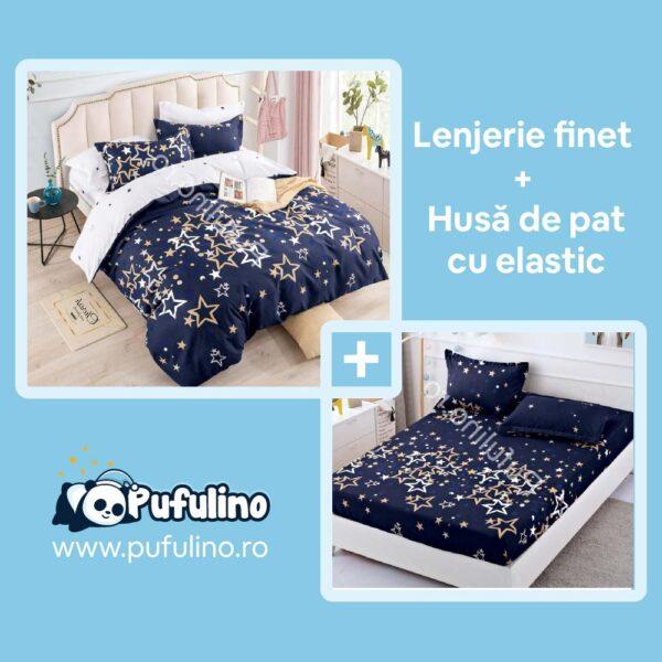 set-lenjerie-de-pat-si-husa-de-pat-bleumarin-cu-stelute
