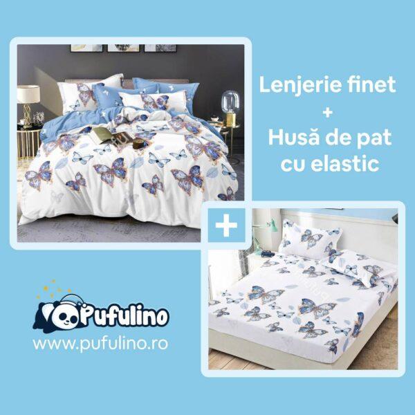 set-lenjerie-de-pat-si-husa-model-cu-fluturi-albastri