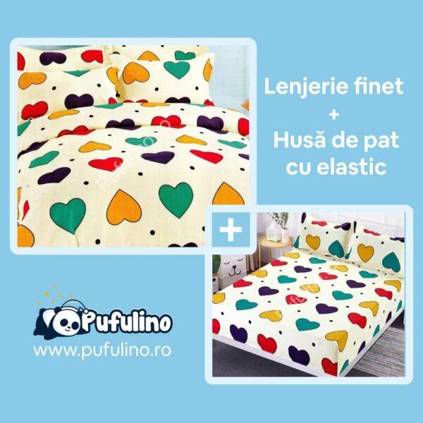 set-lenjerie-din-finet-gros-si-husa-inimioare-multicolorate