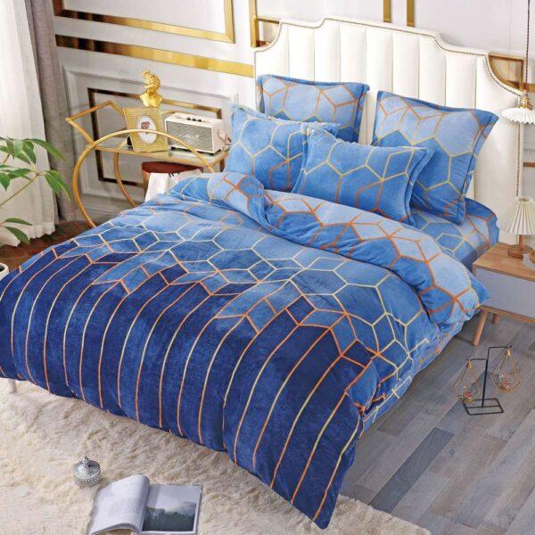 lenjerie cocolino albastra cu model abstract