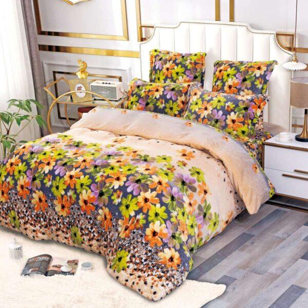 lenjerie cocolino crem cu flori colorate
