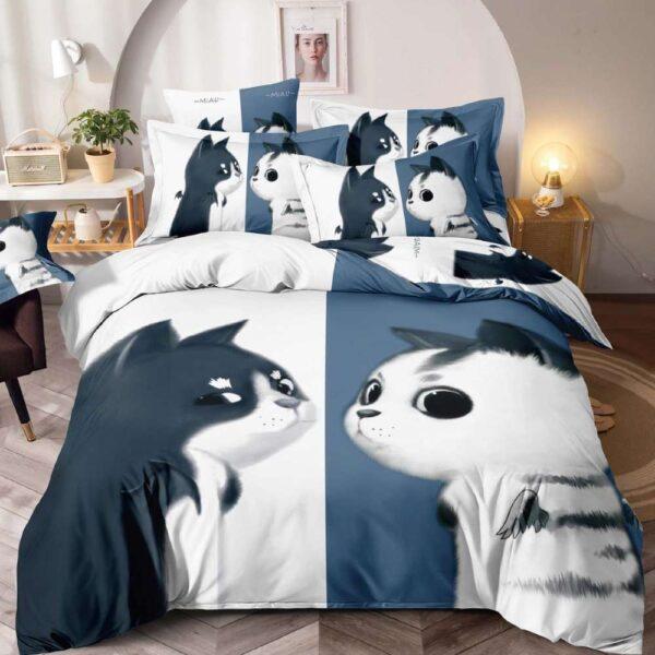 lenjerie de pat alb cu bleumarin cu pisicute