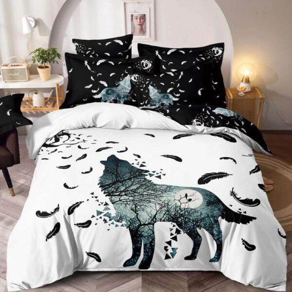 lenjerie de pat alb cu negru