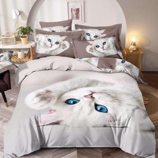lenjerie de pat alba cu gri cu pisicute