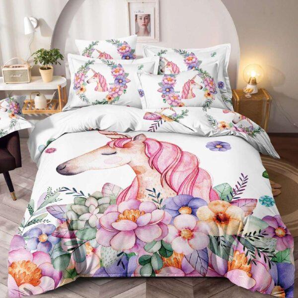 lenjerie de pat alba cu unicorni