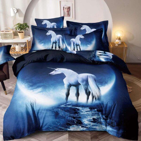 lenjerie de pat bleumarin cu unicorni