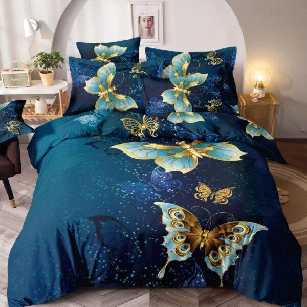 lenjerie de pat bleumarin cu fluturi