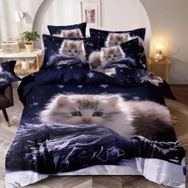lenjerie de pat bleumarin cu pisicute