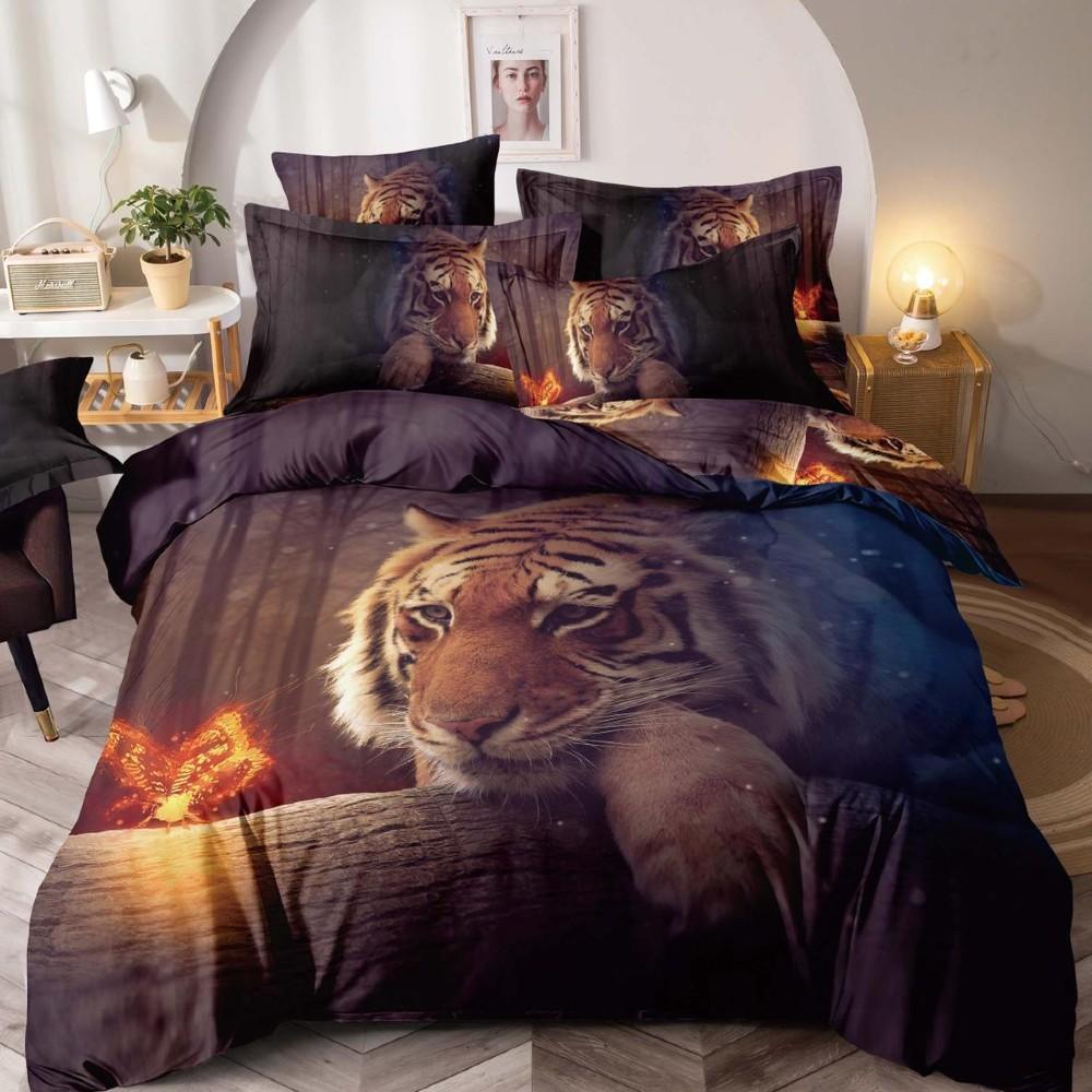 lenjerie de pat bleumarin cu tigri