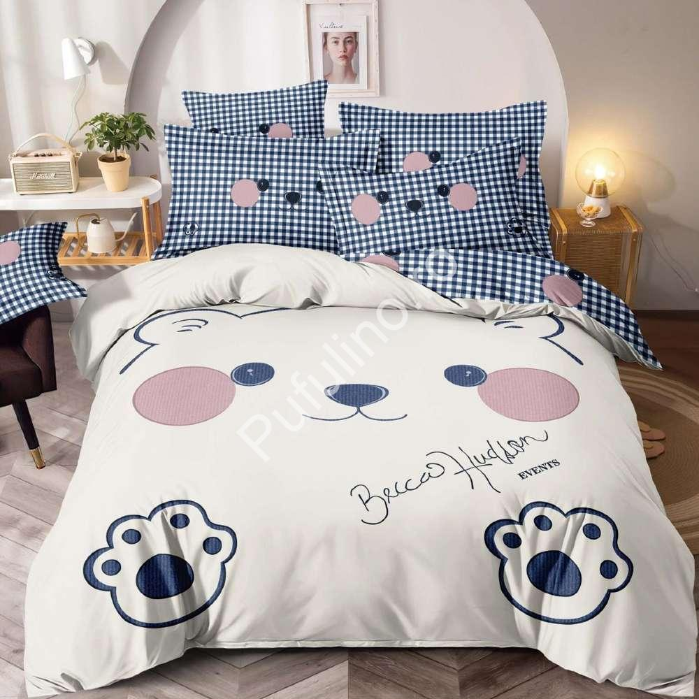 lenjerie de pat carouri cu ursuleti