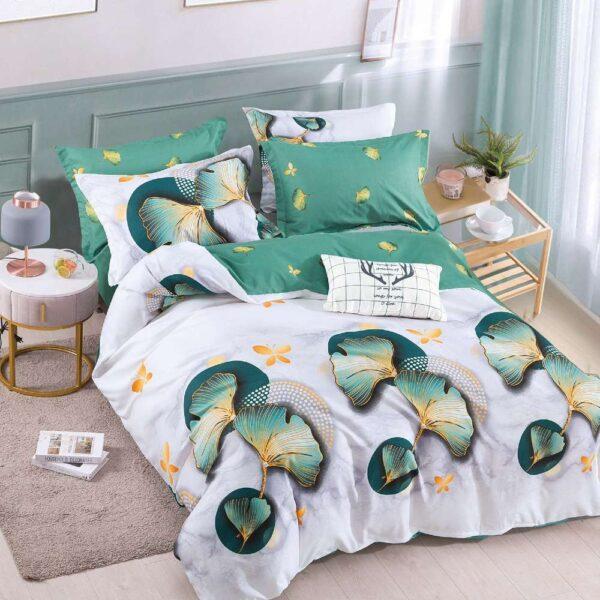 lenjerie de pat cu elastic alba cu flori verzi