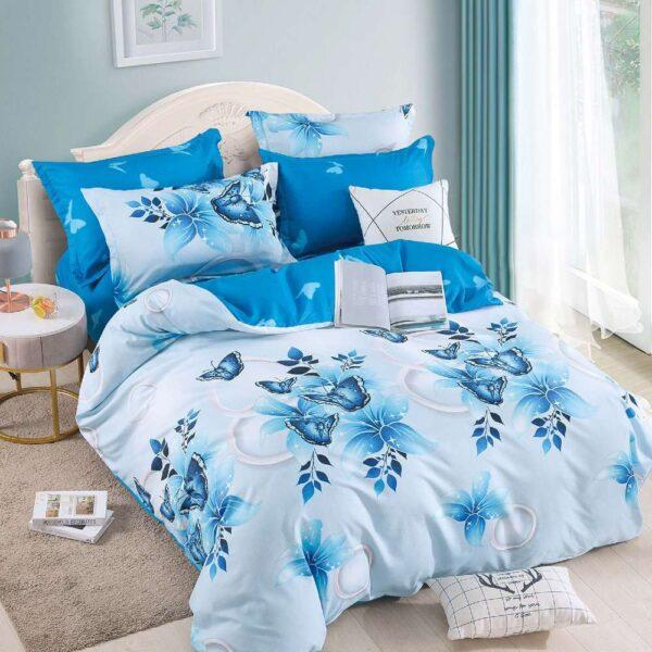 lenjerie de pat cu elastic alba cu fluturi albastri