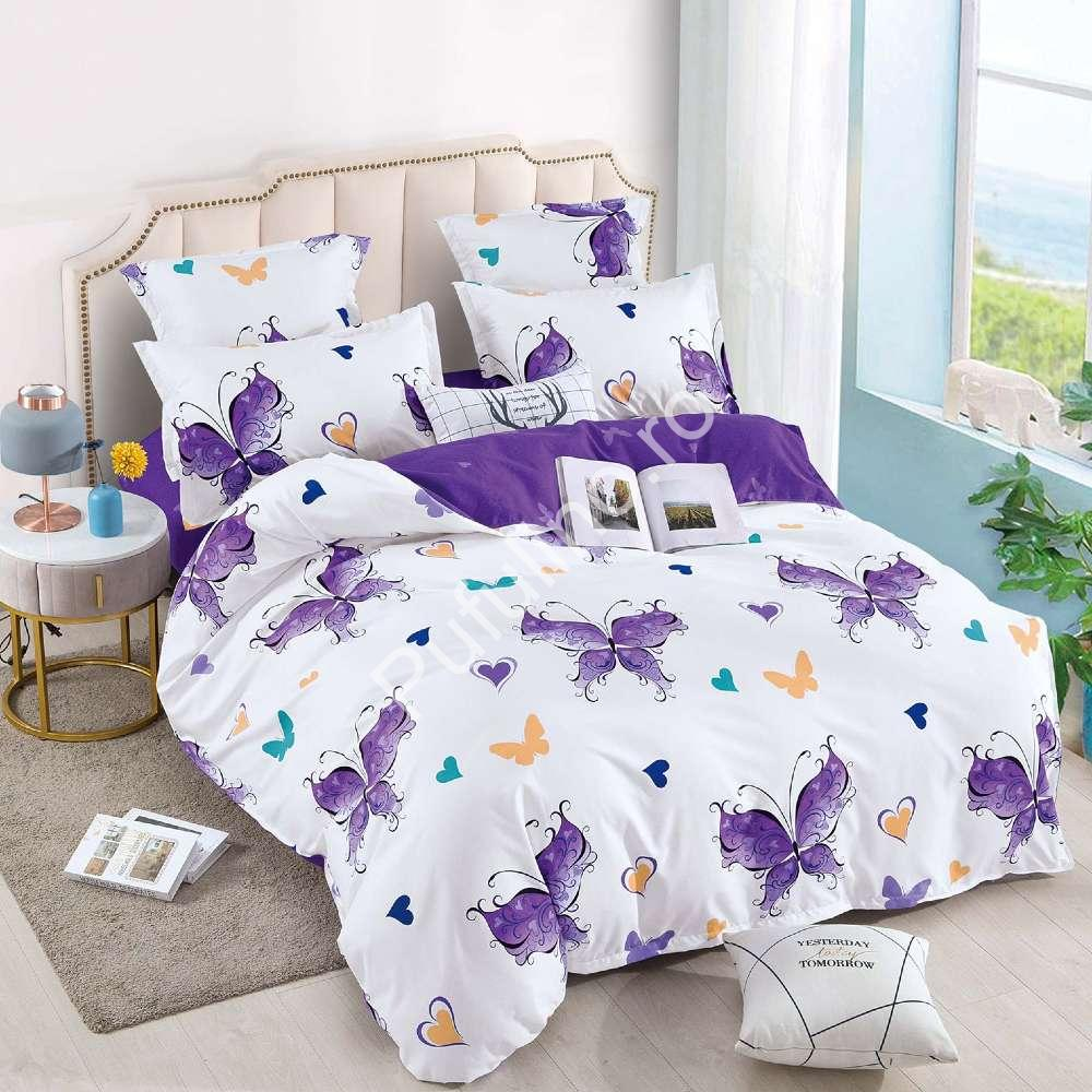 lenjerie de pat cu elastic alba cu fluturi mov