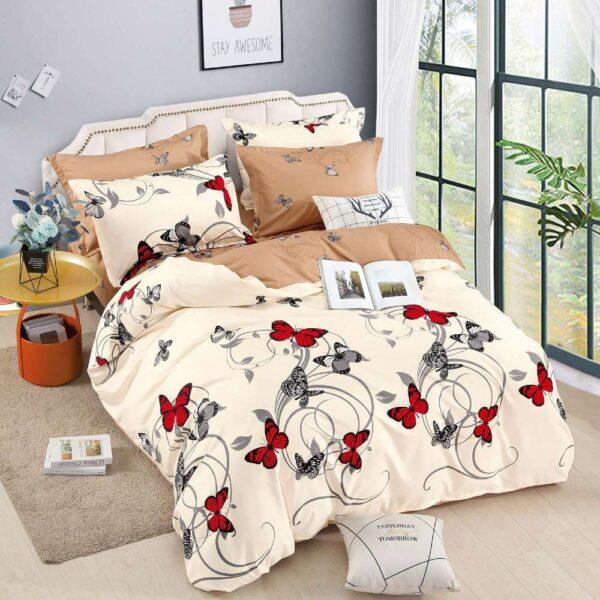 lenjerie de pat cu elastic bej cu crem