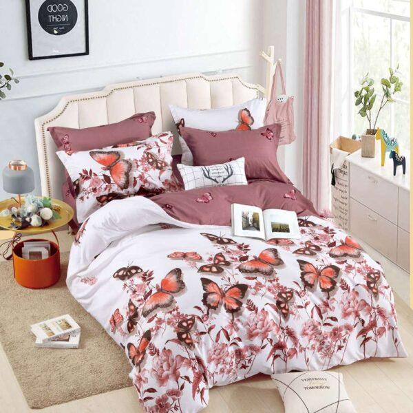 lenjerie de pat cu elastic fluturi