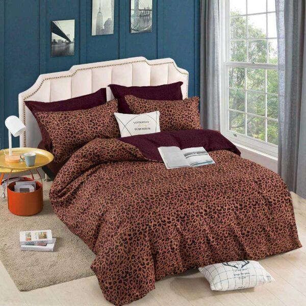 lenjerie de pat cu elastic maro