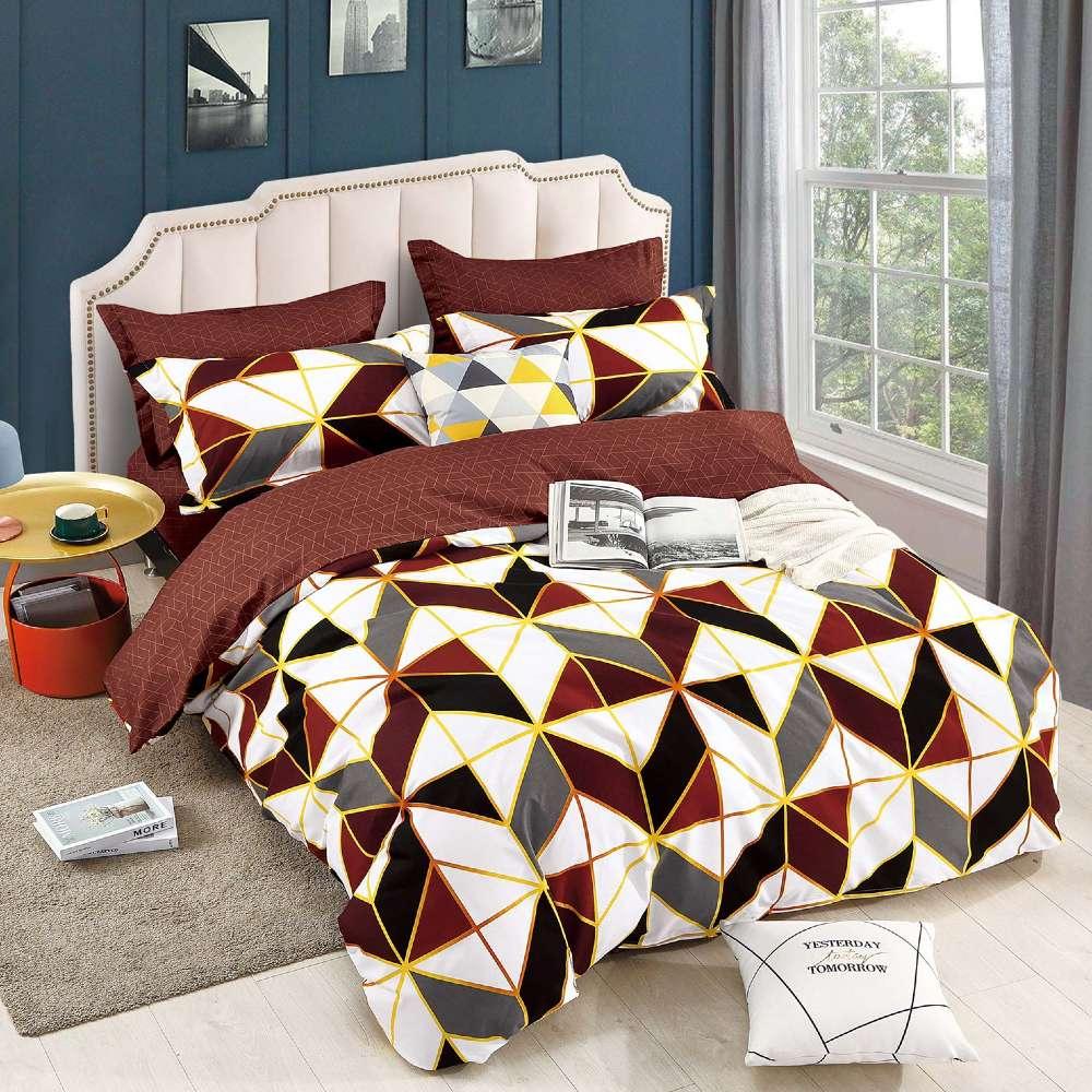 lenjerie de pat cu elastic maro cu forme geometrice