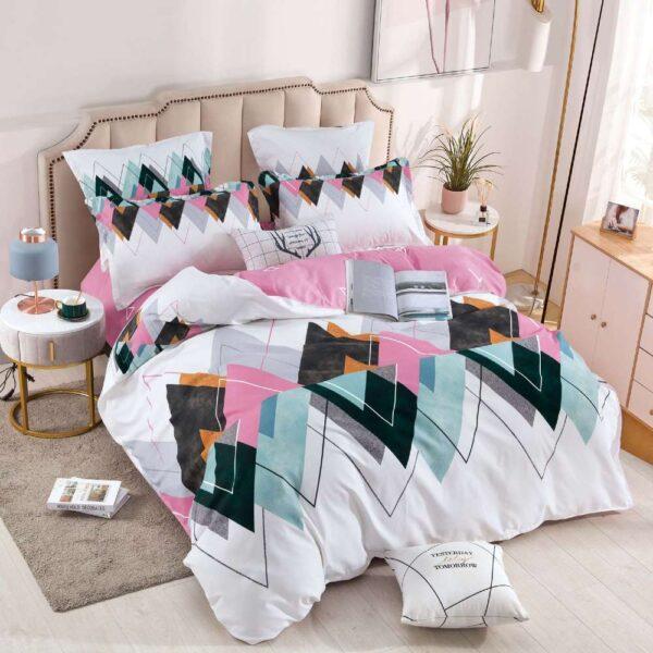 lenjerie de pat cu elastic roz cu alb