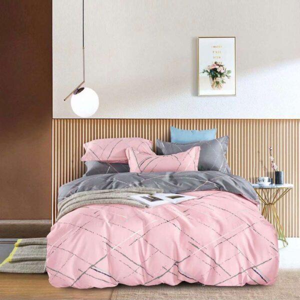 lenjerie de pat cu elastic roz cu gri