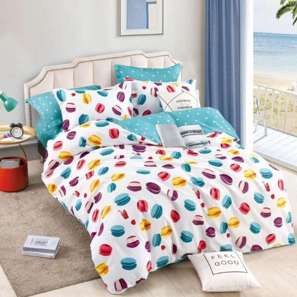 lenjerie de pat cu elastic turcoaz cu macarons