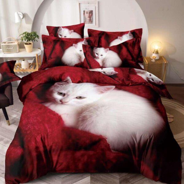 lenjerie de pat grena cu pisicute