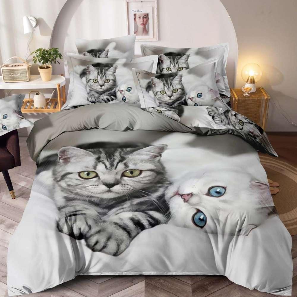 lenjerie de pat gri cu pisicute