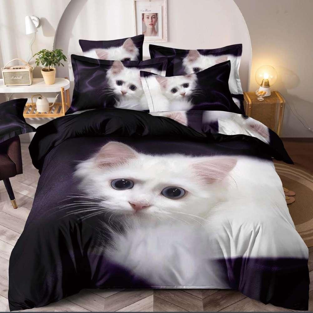 lenjerie de pat cu pisicute albe
