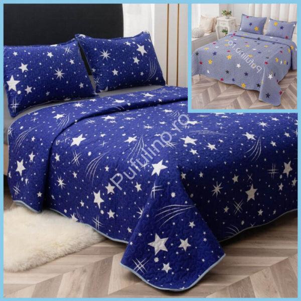 set cuvertura de pat albastra cu stelute