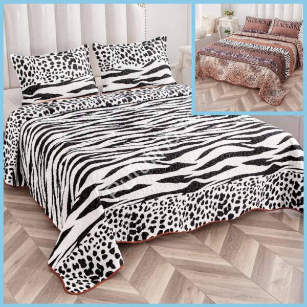 set cuvertura de pat cu doua fete alb negru