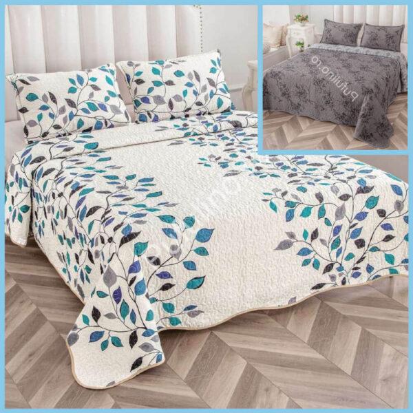 set cuvertura de pat cu doua fete alba cu flori