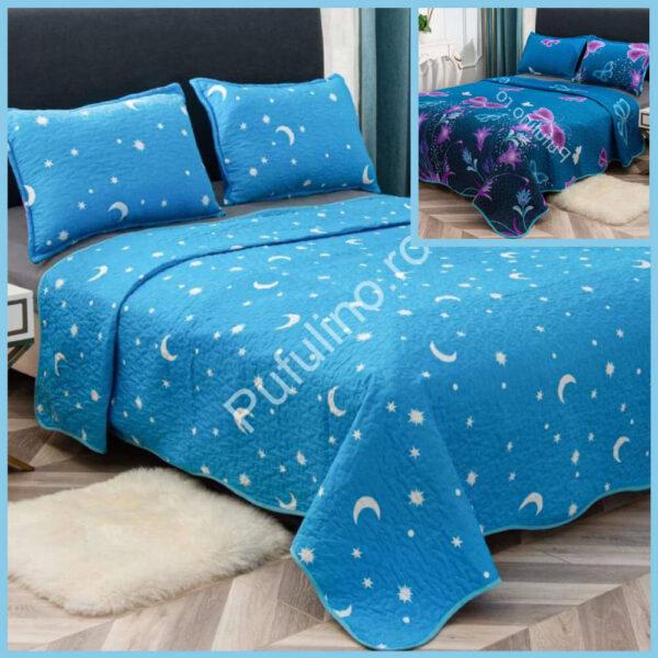 set cuvertura de pat cu doua fete albastra cu stele