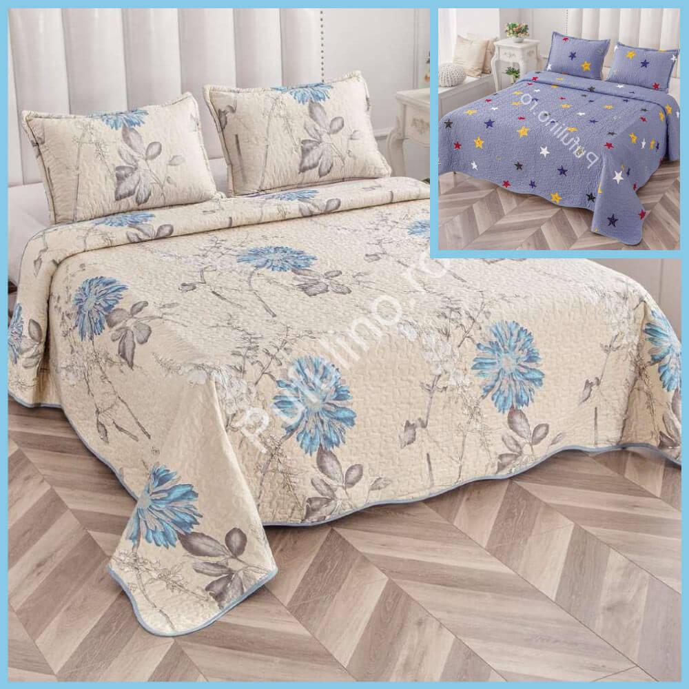 set cuvertura de pat cu doua fete flori albastre