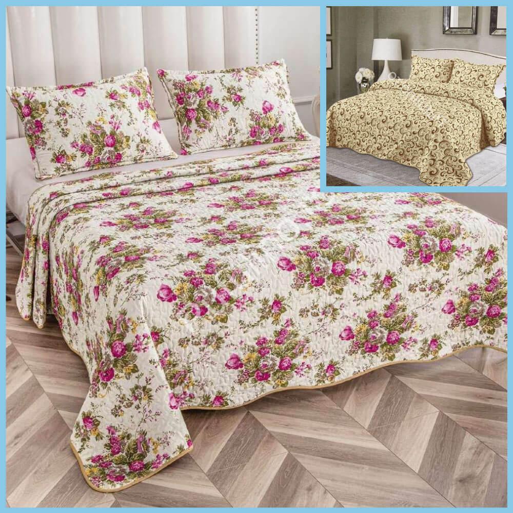 set cuvertura de pat cu doua fete flori colorate