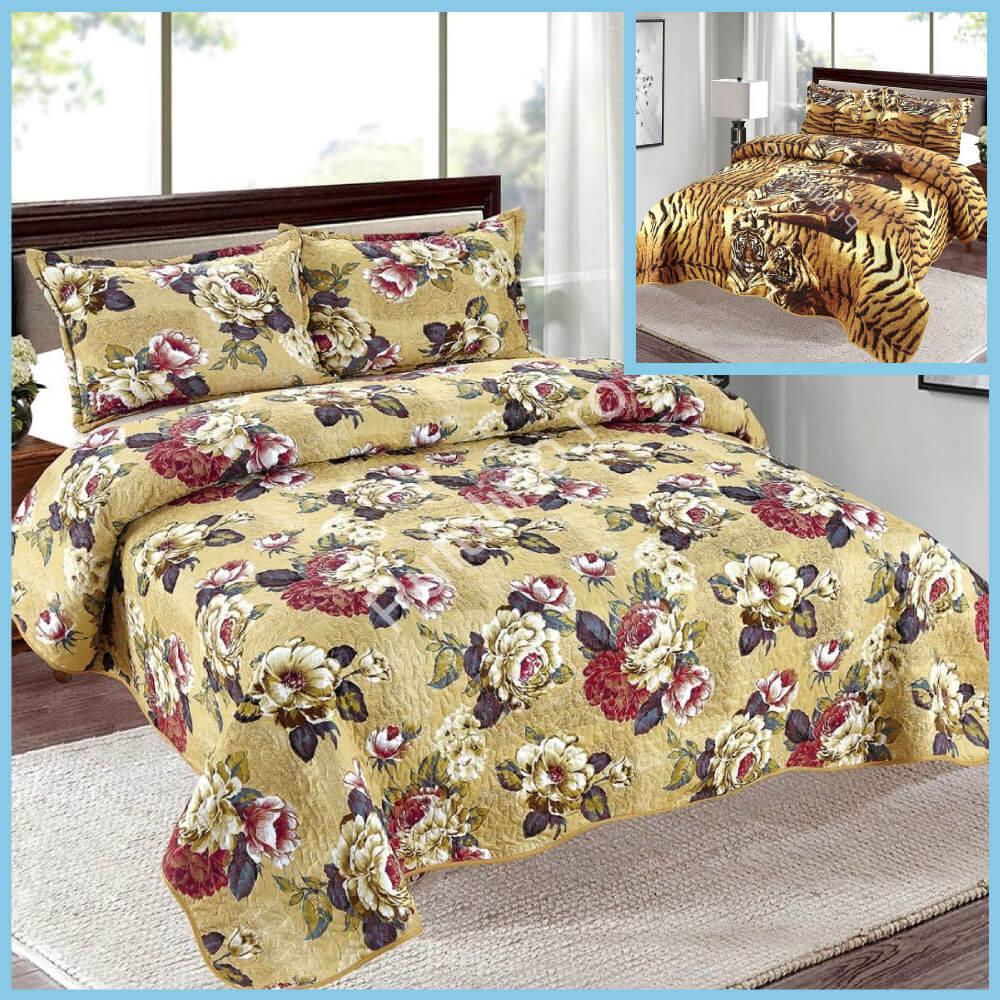 set cuvertura de pat cu doua fete galbena