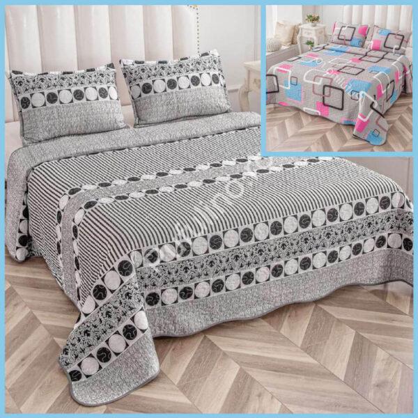 set cuvertura de pat cu doua fete gri cu cercuri