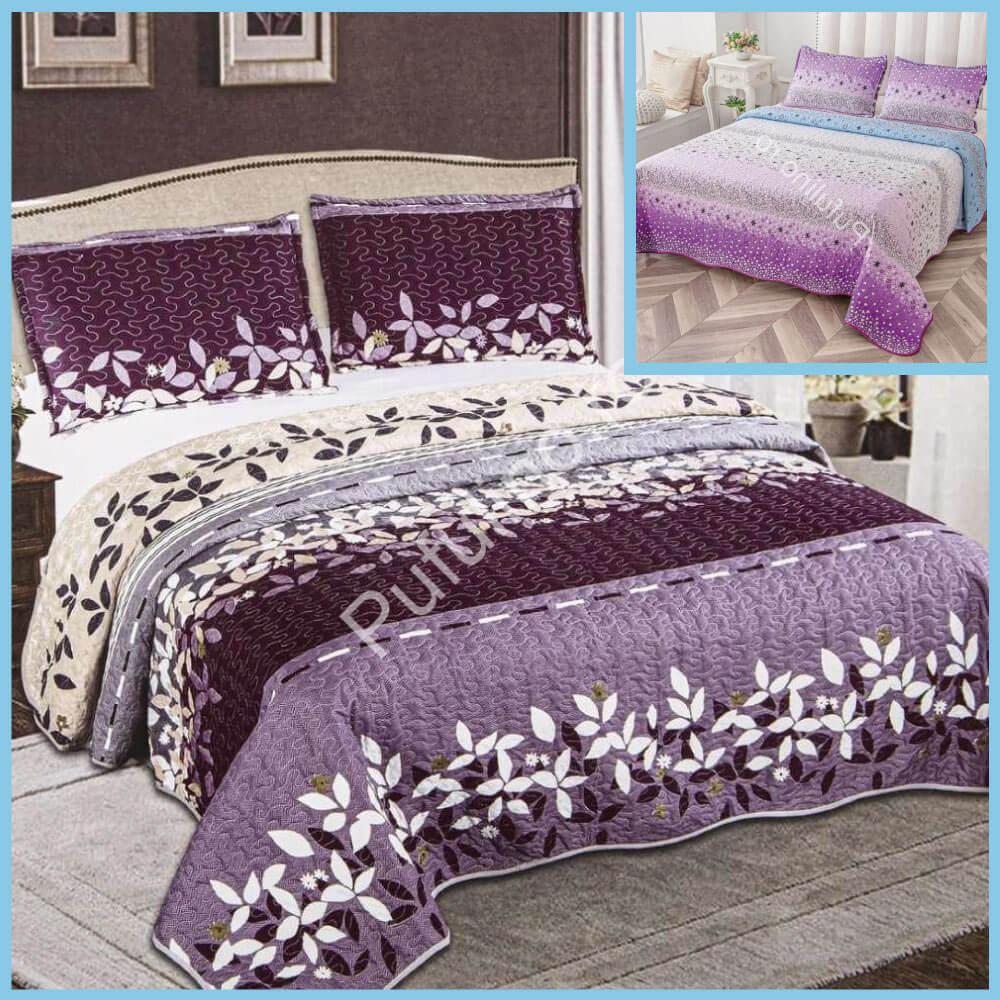 set cuvertura de pat cu doua fete lila cu flori