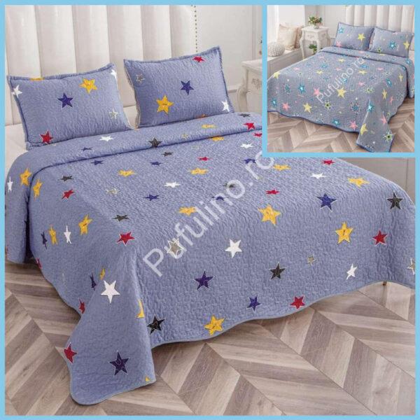 set cuvertura de pat cu doua fete lila cu stelute