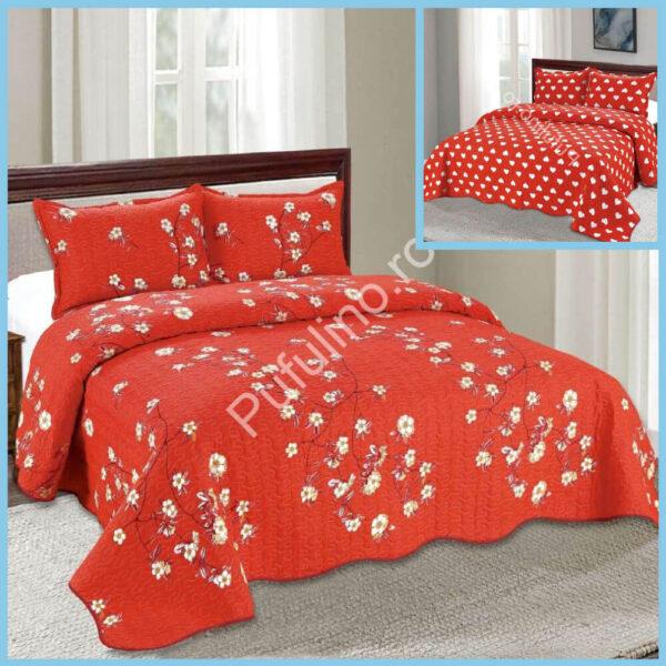 set cuvertura de pat cu doua fete rosie