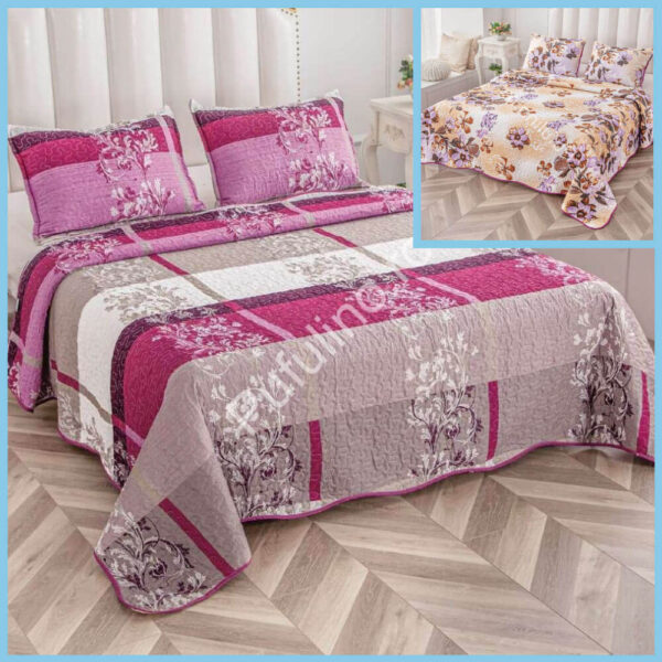 set cuvertura de pat cu doua fete roz