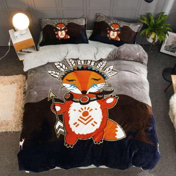 set lenjerie de pat cocolino bleumarin cu portocaliu