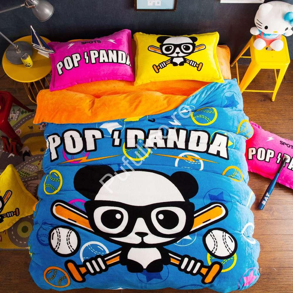 set lenjerie de pat cocolino multicolorata panda