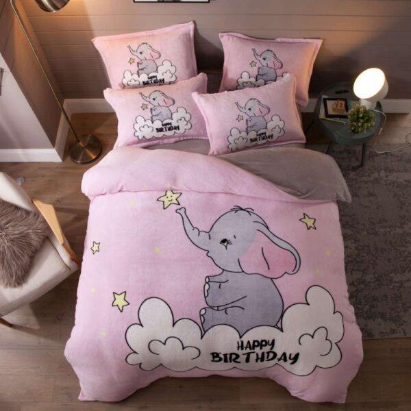 set lenjerie de pat cocolino roz cu elefant
