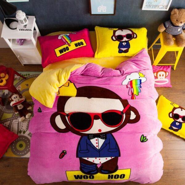 set lenjerie de pat cocolino roz cu galben
