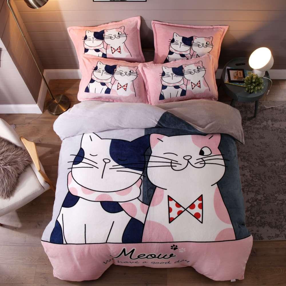 set lenjerie de pat cocolino roz cu pisicute
