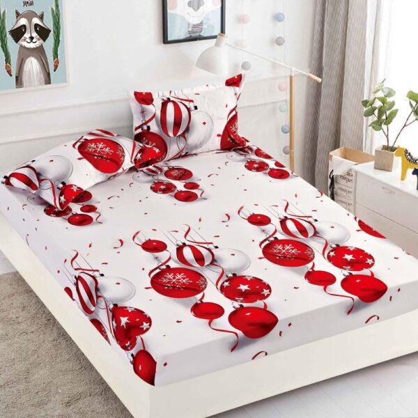 husa de pat cu elastic alba cu globulete rosii craciun