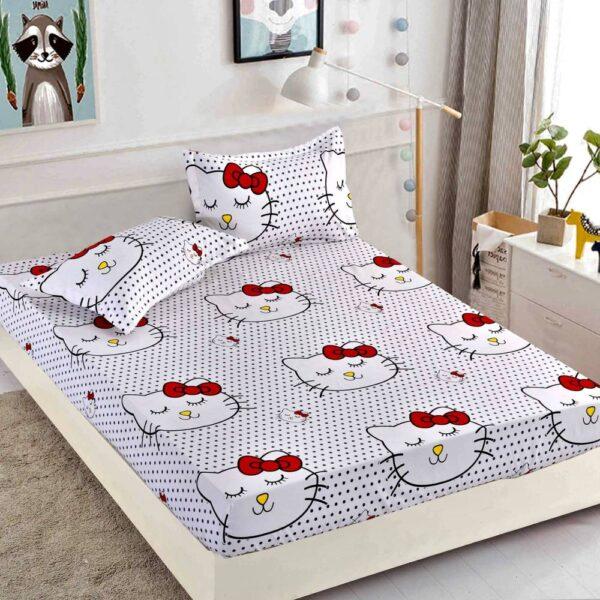 husa de pat cu elastic alba cu pisicute