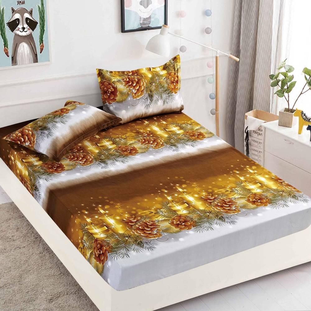 husa de pat cu elastic aurie de craciun