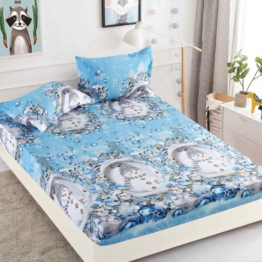 husa de pat cu elastic bleu cu oameni de zapada