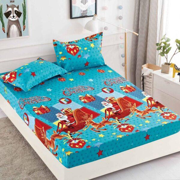 husa de pat cu elastic bleu sanie mos craciun