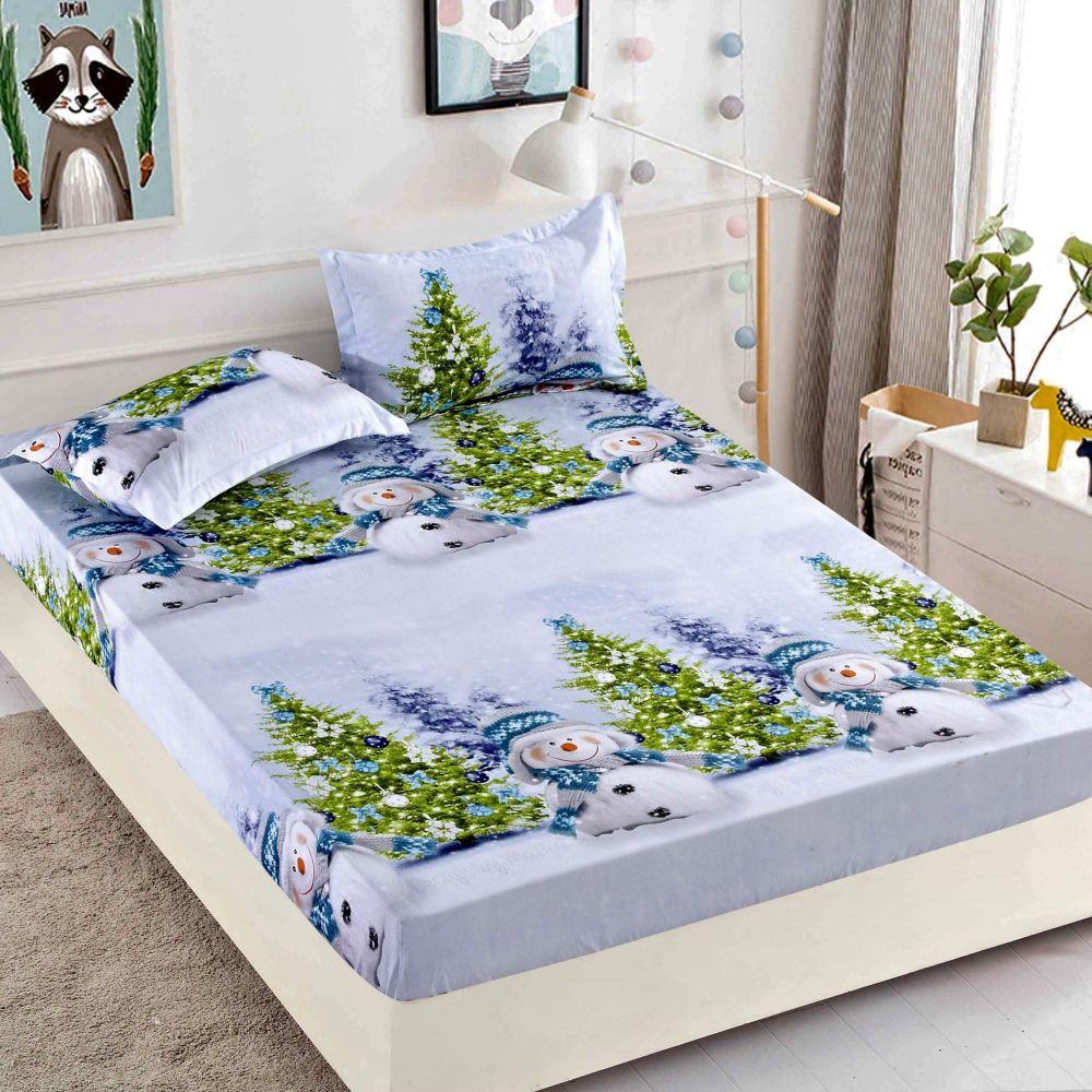 husa de pat cu elastic brazi de craciun